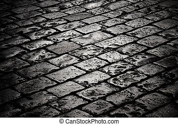 bloque, pavimento, en, el, oscuridad