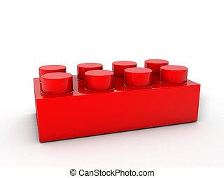 bloque, rojo, lego