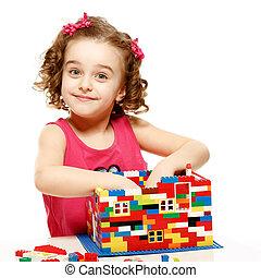 bloques, construye, casa, plástico, pequeño, niña