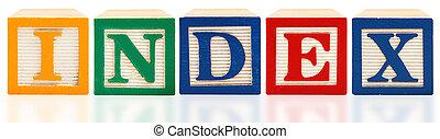 bloques de alfabeto, índice