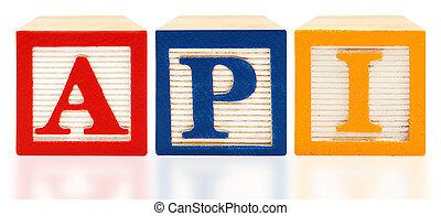 bloques de alfabeto, académico, rendimiento, índice, api