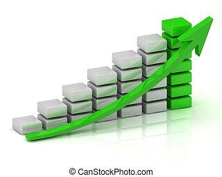 bloques, empresa / negocio, gráfico, crecimiento, verde ...
