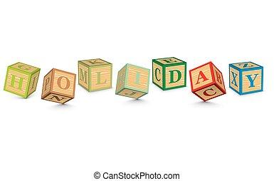 bloques, escrito, feriado, palabra