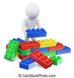 bloques, juguete plástico, personas., 3d, blanco