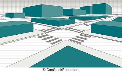 bloques, línea., calles de ciudad, blanco, negro, detalle, ...
