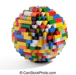 bloques, lego, globo, multicolor, esfera, o
