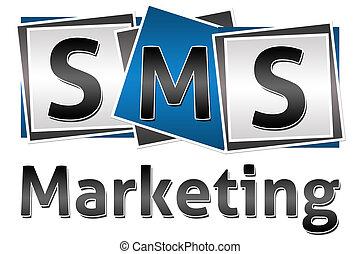 bloques, mercadotecnia, tres, sms