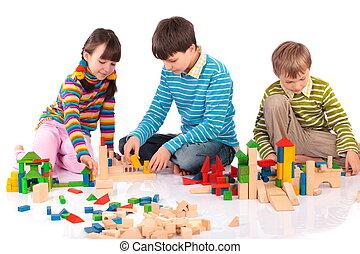 bloques, niños jugar