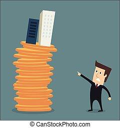 bloques, o, torre, verdadero, condos, hombre, coins, vector...