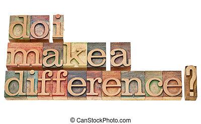 bloques, texto impreso, difference?, de madera, vendimia, ...