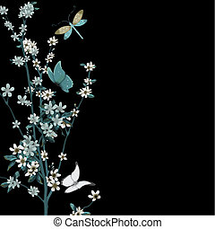 blossom and insects vector - blossom and butterfly with...