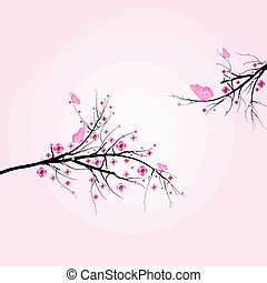 Beautiful blossom cherry and butterfly isolated on pink background