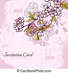 Blossom cherry or sakura invitation postcard