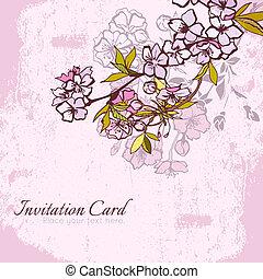 Blossom cherry or sakura invitation postcard