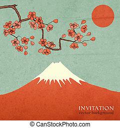 Blossom cherry or sakura mountain invitation postcard