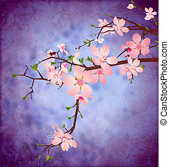 blossom cherry tree brunch on grunge blue square vintage background  high detailed