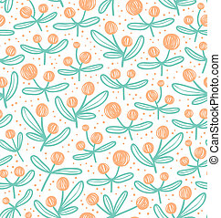 Blossom doodle beautiful seamless pattern