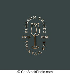 Blossom Drinks Cocktail Bar Abstract Vector Sign, Symbol or Logo Template. Flower Incorporated in the Wine Glass Illustration with Classy Typography. Premium Quality Retro Emblem.