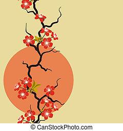 blossom , kers, flowers., stylized, kaart