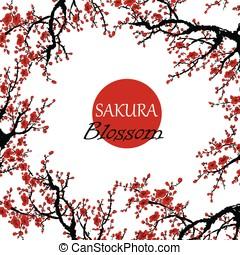 blossom , kers, -, japanner, boompje, realistisch, sakura