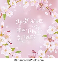 blossom , kers, -, noteren, vector, lente, kaart