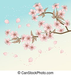 blossom , kers, stylized, kaart, vector