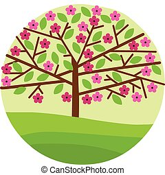 blossom of spring tree with pink flowers and green leafs