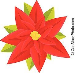 Blossom poinsettia icon, cartoon style