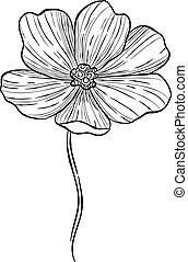 Blossom rose hip flower icon, hand drawn style - Blossom ...