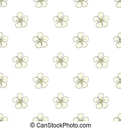 Blossom. Seamless pattern with flowers. Real outline drawing. Vector illustration.