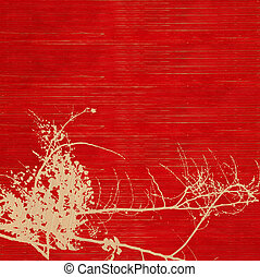 Blossom silhouette on red ribbed handmade paper background