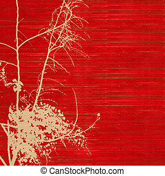 Blossom silhouette on red ribbed handmade paper