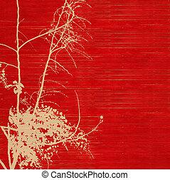 blossom , silhouette, op, rood, geribd, met de hand gemaakt papieren
