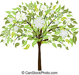 Beautiful summer tree with blossom flowers. Vector illustration.