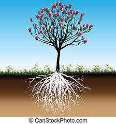 Illustration blossom tree as a symbol of spring.