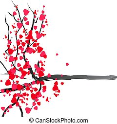 Blossom tree valentine with hearts romantic vector isolated