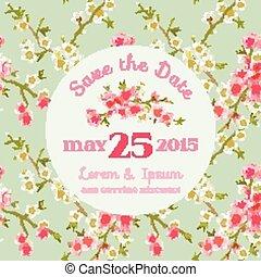 blossom , uitnodiging, -, floral, vector, achtergrond, trouwfeest, datum, sparen, kaart