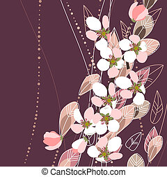 Blossoming apple branches on dark violet background