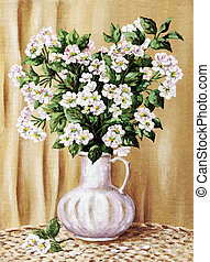 Blossoming apple-tree in a white jug - Picture oil paints on...