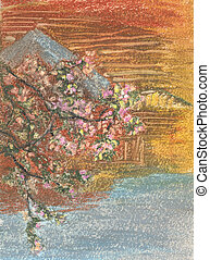 blossoming branch of a Apple tree, pink flowers on the branch