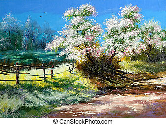 Blossoming bush on rural surburb