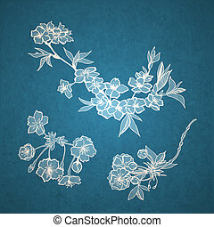 Blossoming cherry decorative elements