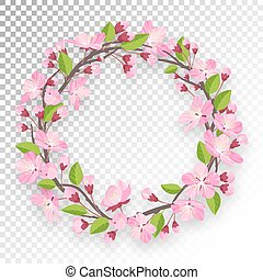 Blossoming cherry round frame for text. Apple-tree or cherry flowers and buds of branch are twisted by ring banner. Spring design isolated on transparent background.