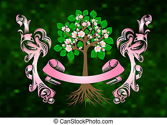Blossoming cherry tree with banner and ribbons