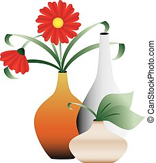 Decorative illustration of blooming flowers in vases, isolated on white background.