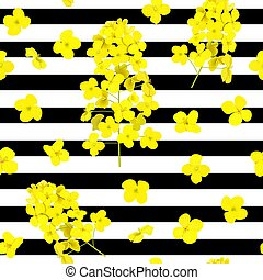 Blossoming Rapeseed flowers seamless vector pattern on ...