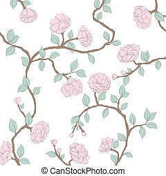 Blossoming roses on a light background