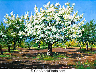 Blossoming, spring garden