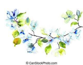 Blossoming tree brunch, watercolor illustration
