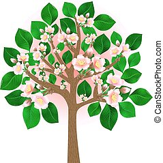Blossoming tree - Illustration of abstract blossoming cherry...